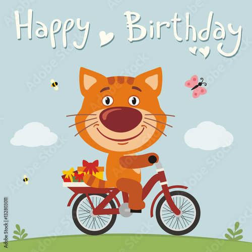 Happy Birthday Funny Kitten Cat On Bike With Gifts Birthday Card