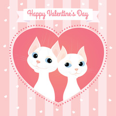 """Vector greeting card. Cartoon illustration of a couple of white cats looking at each other. Heart shaped frame, pink pastel colors, striped background, square format. Text """"Happy Valentine's Day""""."""