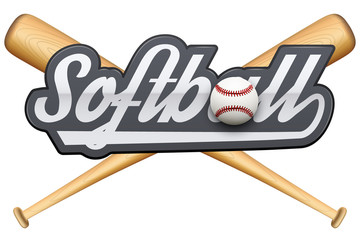 Softball symbol with tag and wooden bats. Sporting Symbol and mascot. Vector Illustration Isolated on white background.