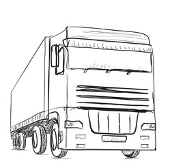 Sketch logistics and delivery poster. Hand drawn truck.