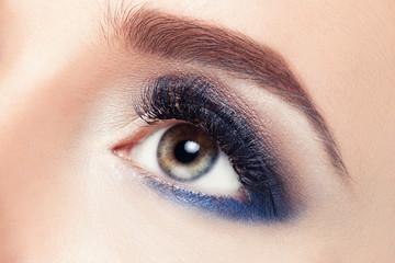 Macro Shot of Young European Woman's Beautiful Eye. Elegance CloseUp of Female Eye with Classic Dark Blue Smoky Eye MakeUp. Beauty, Cosmetics and Makeup. Grey and Blue Eyeshadow on Eyelid.