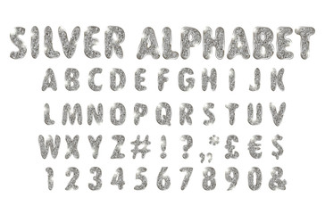 silver alphabet on a white background