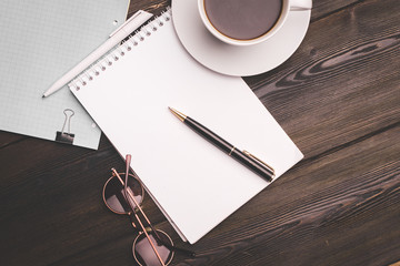 mug, coffee, notebook, pen, glasses