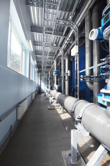Large industrial water treatment and boiler room. Popoing, armat