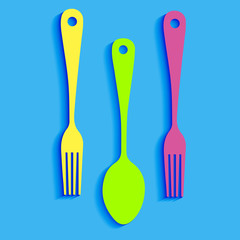 spoon fork icon vector kitchen restaurant food