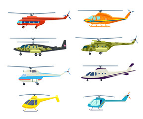 Helicopter set isolated on white background vector illustration. Air transport, propeller aerial vehicle, flying modern aviation. Military and civil helicopter collection in flat design.