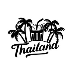 Thailand travel illustration with hand written lettering for label, badge, tee print.