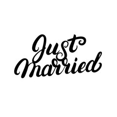 Just married hand written lettering for wedding cards and invitation.