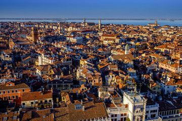 Aerial view in winter from the San Marco Sqaure, Venice, Veneto, Italy. Panoramic view at blue hour.