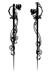 epee swords among roses black and white vector design
