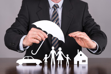 Family, house and car insurance concept