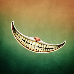 Fantasy illustration or poster fairy tale  story of Wonderland with  Smile Cheshire Cat.