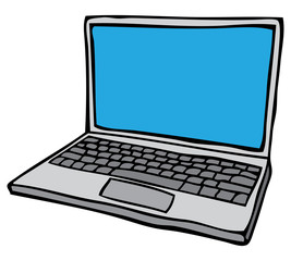 Grey Open laptop computer with blank blue screen. Sketchy vector illustration
