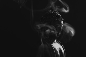 Decorative Buddha statue, Buddha in the background of incense, S Fotomurales