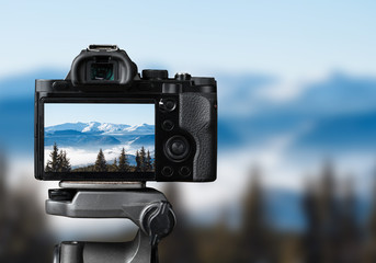 taking photo of the nature with dslr camera