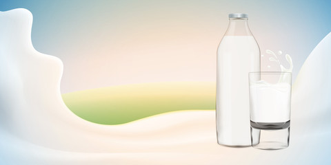 Realistic yogurt vector illustration with milk bottle on bright background