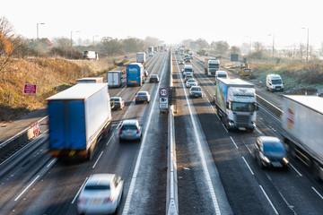 Morning View of frozen UK Motorway