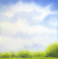 Watercolor landscape. White clouds on blue sky over lake