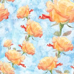 Collage of flowers rose in watercolor.  Seamless wallpaper. Use printed materials, signs, items, websites, maps, posters, postcards, packaging.