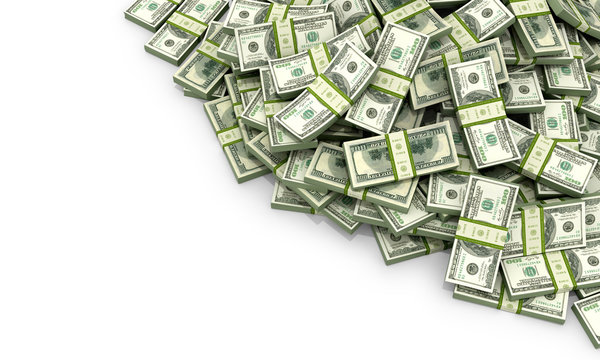 A lot of money on a white background. 3d illustration