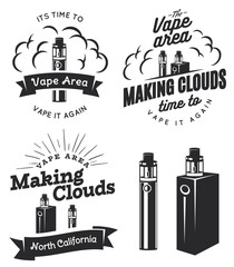 Set of vape, e-cigarette logo, emblems, and badges
