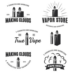 Set of vape, e-cigarette logo, emblems, and badges