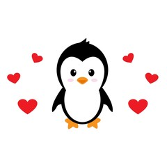 cartoon cute penguin with hearts