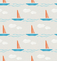 seamless summer pattern with boats