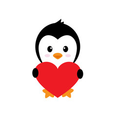 cartoon cute penguin with heart