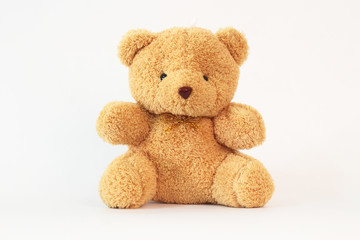 Brown teddy bear on a white background.