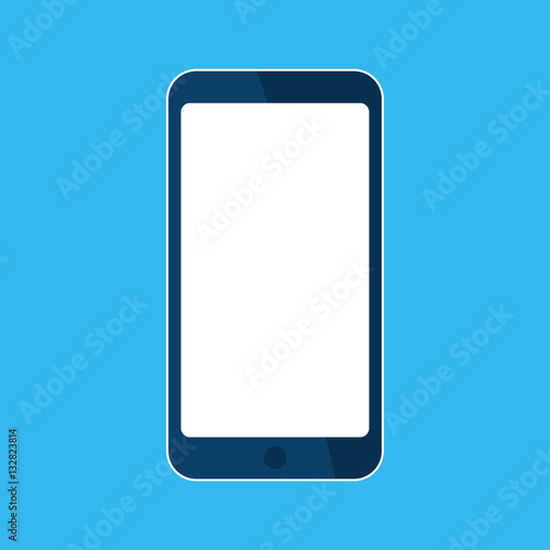 Mobile Smart Phone Icon Template Blank White Skreen Mock Up Device Isolated On Blue Vector Cartoon Flat Ilration For Web Site Ui
