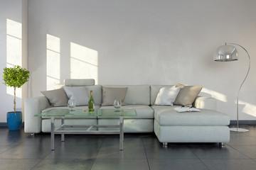 Modernes Wohnzimmer mit einem Sofa, modernen Tisch - Textfreiraum - Platzhalter