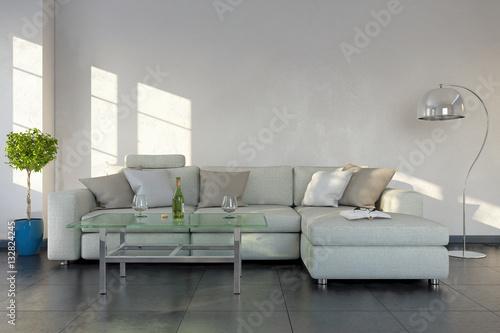 modernes wohnzimmer mit einem sofa modernen tisch textfreiraum platzhalter stock photo. Black Bedroom Furniture Sets. Home Design Ideas