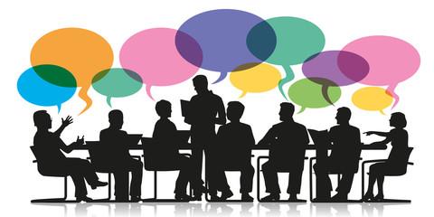 réunion - bulles - discussion - travail d'équipe - entreprise