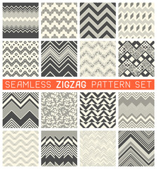 Seamless Zig Zag Pattern Set. Chevron Grapic Print Design