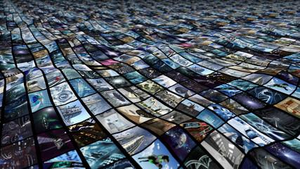 3d rendering. Irregular video wall