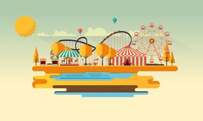Amusement park at autumn daytime flat illustration