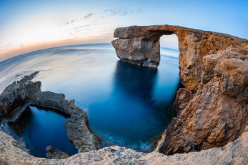 Fisheye View of the Azure Window, a natural arched rock in Dwejra, Gozo, Malta. Wall mural