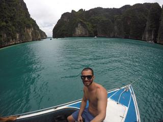 Man taking a selfie on the beach in Thailand