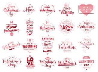 Happy Valentines day typography. Vector design.
