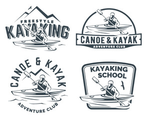 Kayak and canoe logo, emblems and badges. Man in a kayak