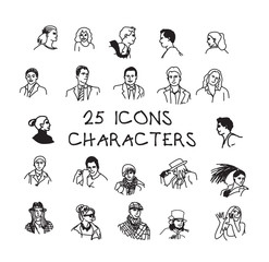 Set black and white people icons characters.