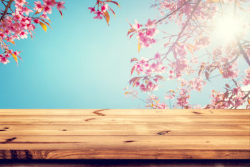 Wall Mural - Top of wood empty ready for your product and food display or montage with pink cherry blossom flower (sakura) on sky background in spring season. vintage color tone.