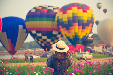Tourist is traveling into Balloon festival in Chiangrai.