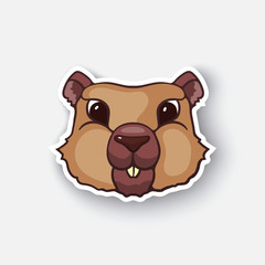 Vector illustration. Cute groundhog. Marmot head. Happy groundhog day. Cartoon sticker in comic style with contour. Decoration for greeting cards, posters, patches, prints for clothes, emblems