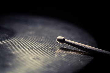 Drum stick and cymbal detail