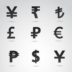 Currency symbols vector icon set.