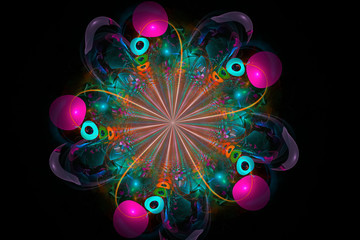 Decorative fractal abstract  flower on black background.3D render