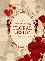 vector banner with a place for inscription to the Eiffel Tower and roses