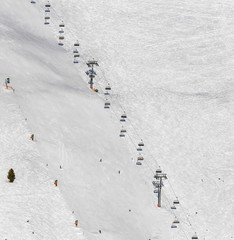 One of chair lifts in a ski resort of a valley of Zillertal - Mayrhofen, Austria